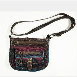 Aztec VTG Multi Pocket Abstract Pattern Purse Bag